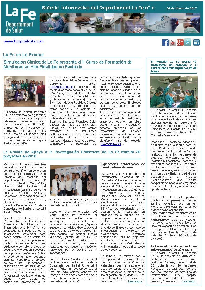 Boletín Informativo Departament La Fe n. 11