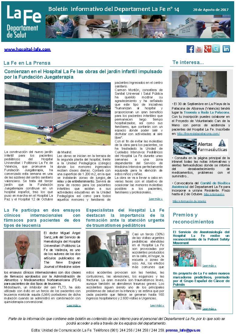 Boletín Informativo Departament La Fe 14