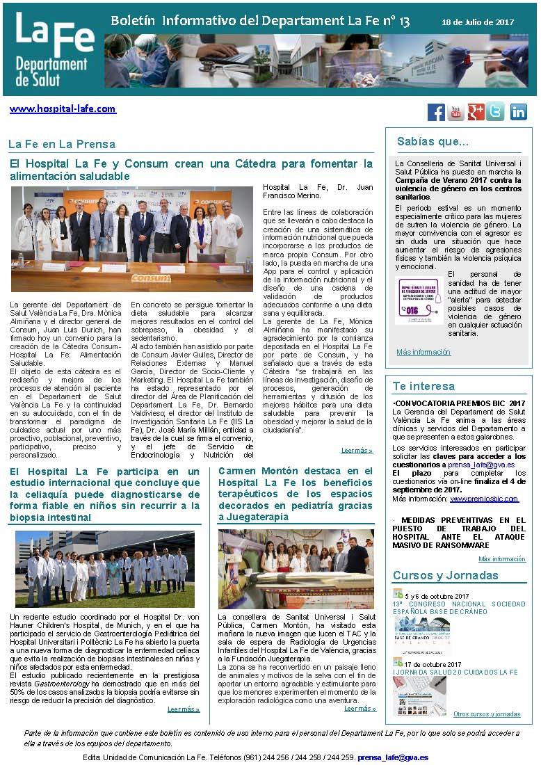 Boletín Informativo n 13 Departament La Fe