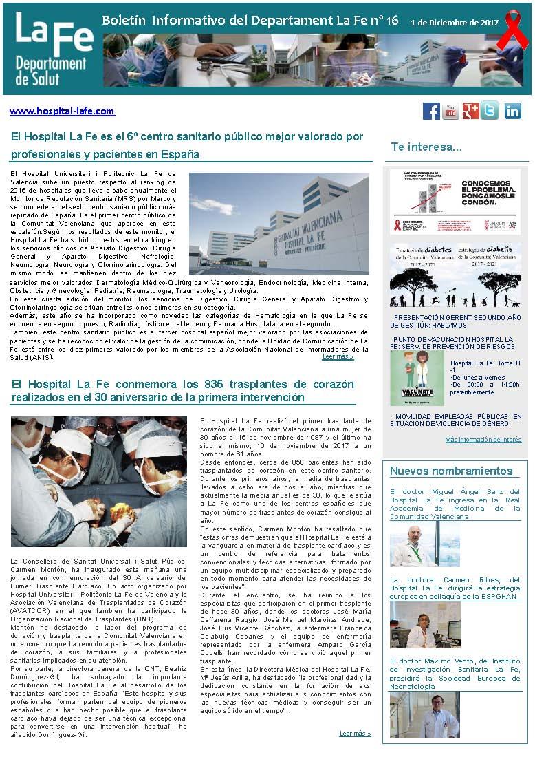 Boletín Informativo Departament La Fe n. 16
