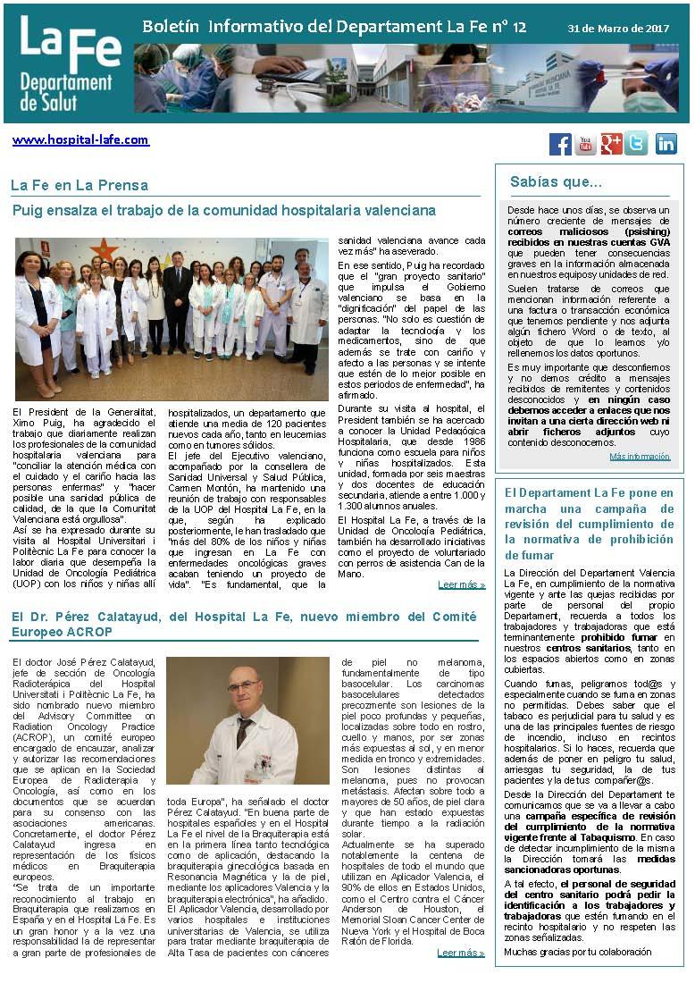 Boletín Informativo Departament La Fe n.12