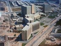 Imagen aérea del Hospital La Fe en el barrio de Campanar en los años 70