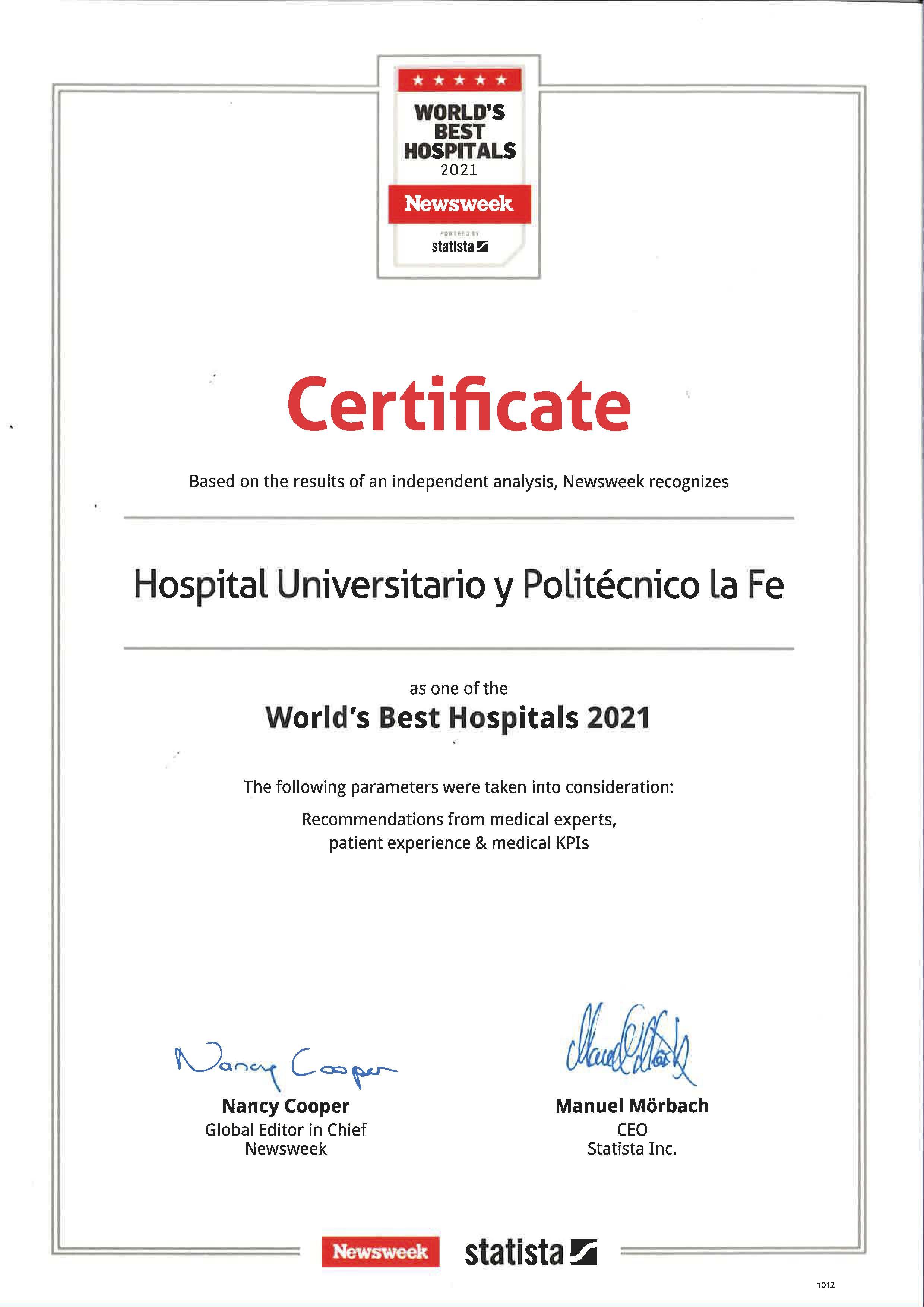 Certificado Premio World Best Hospital 2020