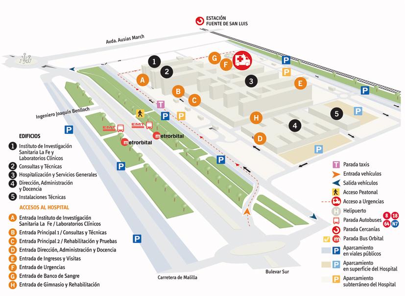 Plano de accesos al hospital en transporte público y privado, con paradas de bus, taxi